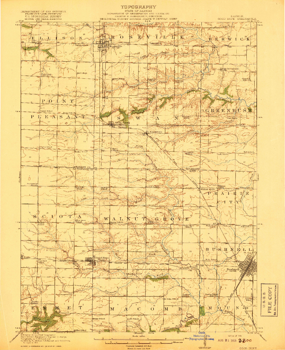 USGS 1:62500-SCALE QUADRANGLE FOR GOOD HOPE, IL 1918