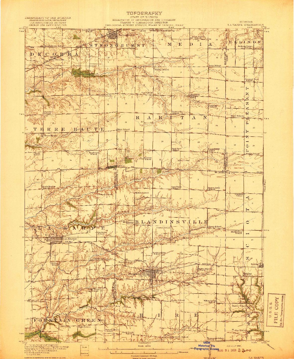USGS 1:62500-SCALE QUADRANGLE FOR LA HARPE, IL 1918