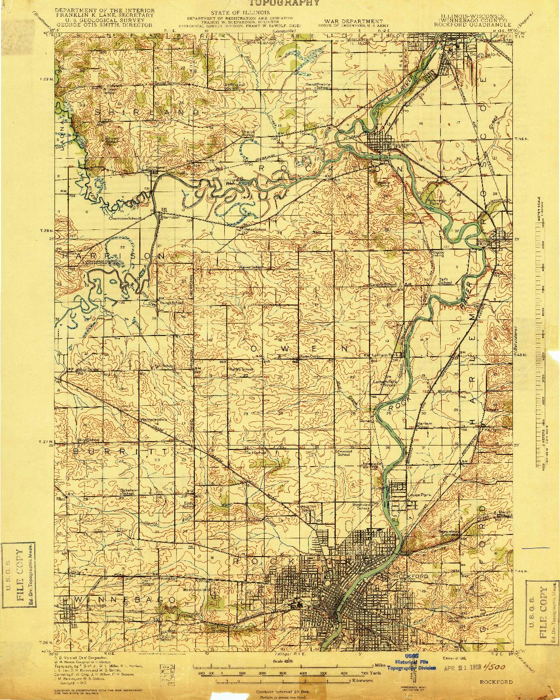 USGS 1:62500-SCALE QUADRANGLE FOR ROCKFORD, IL 1918