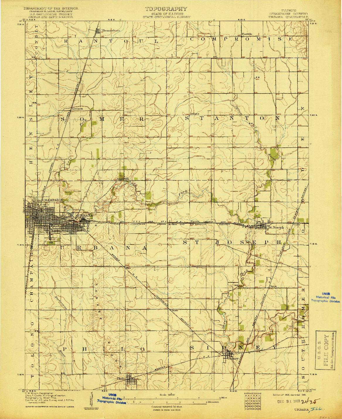 USGS 1:62500-SCALE QUADRANGLE FOR URBANA, IL 1906