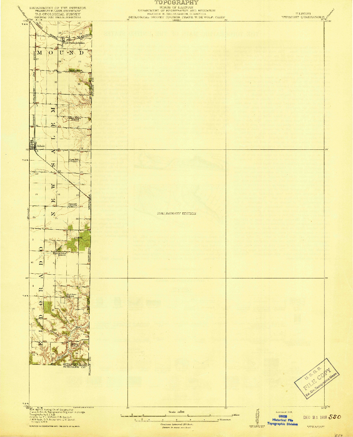 USGS 1:62500-SCALE QUADRANGLE FOR VERMONT, IL 1918