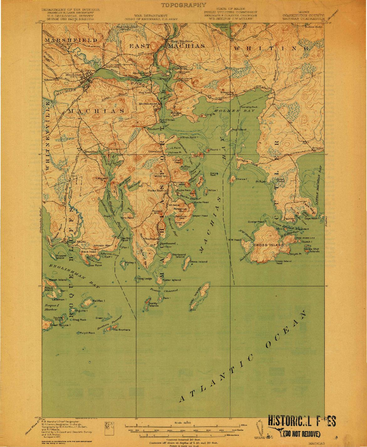 USGS 1:62500-SCALE QUADRANGLE FOR MACHIAS, ME 1918