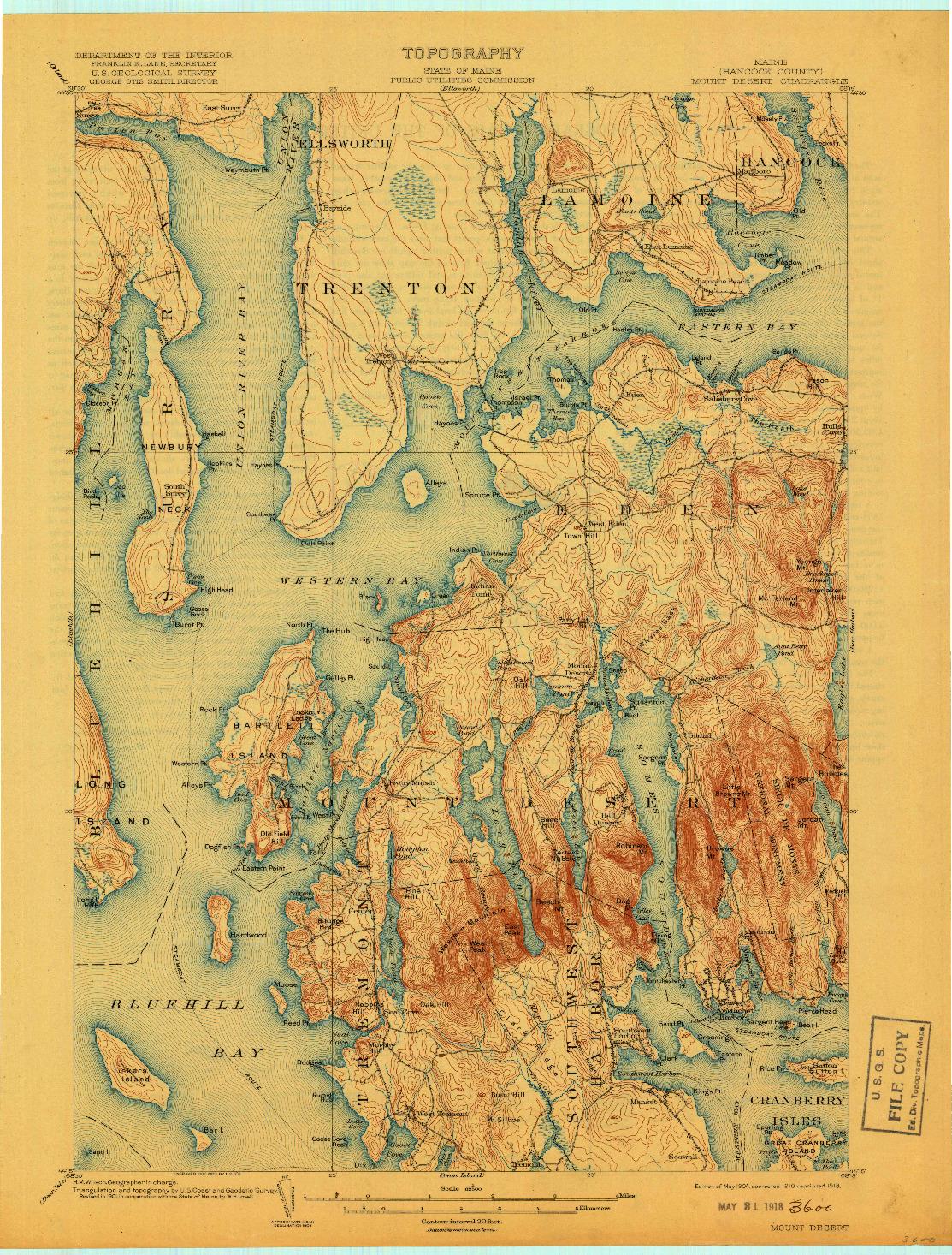 USGS 1:62500-SCALE QUADRANGLE FOR MOUNT DESERT, ME 1904