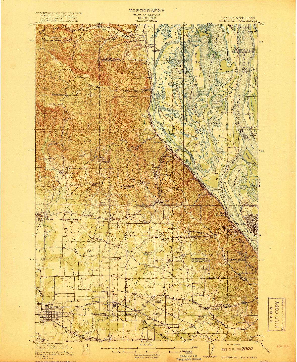 USGS 1:62500-SCALE QUADRANGLE FOR HILLSBORO, OR 1918