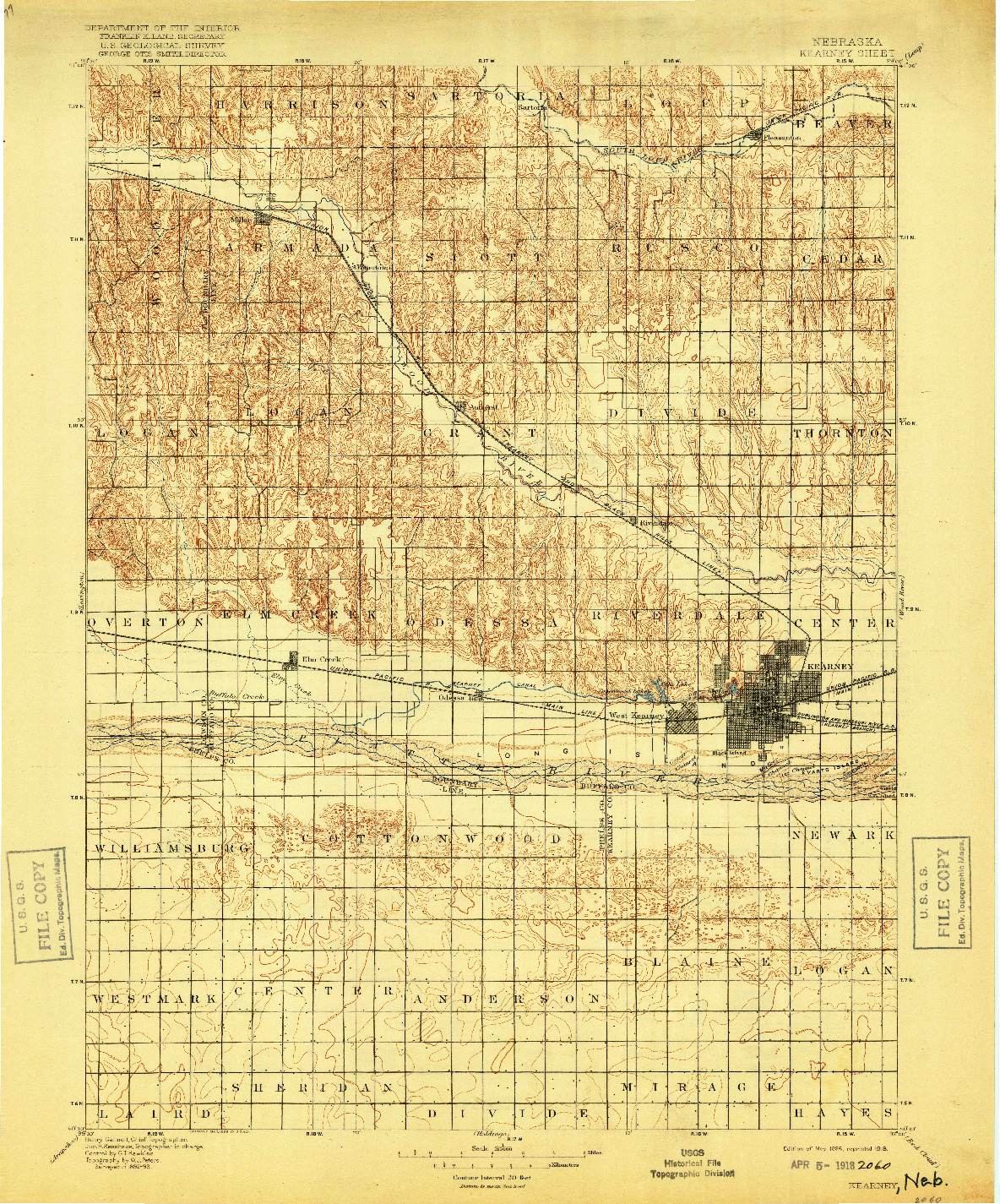 USGS 1:125000-SCALE QUADRANGLE FOR KEARNEY, NE 1896