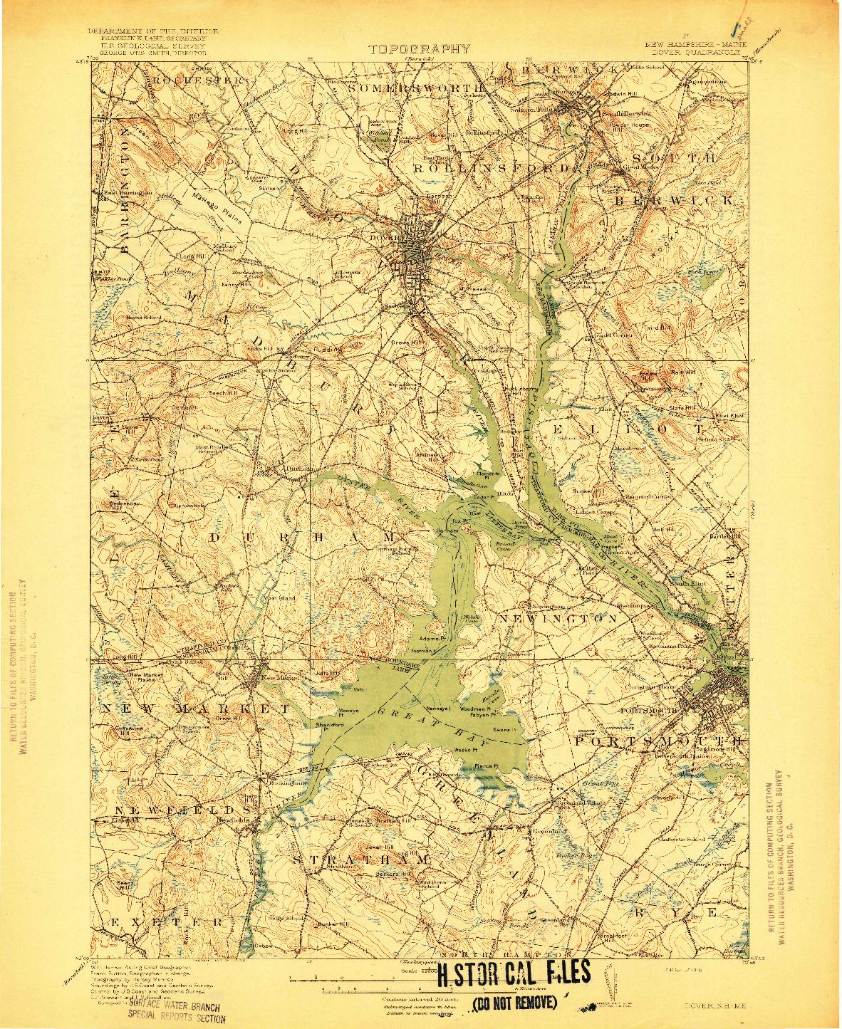 USGS 1:62500-SCALE QUADRANGLE FOR DOVER, NH 1918