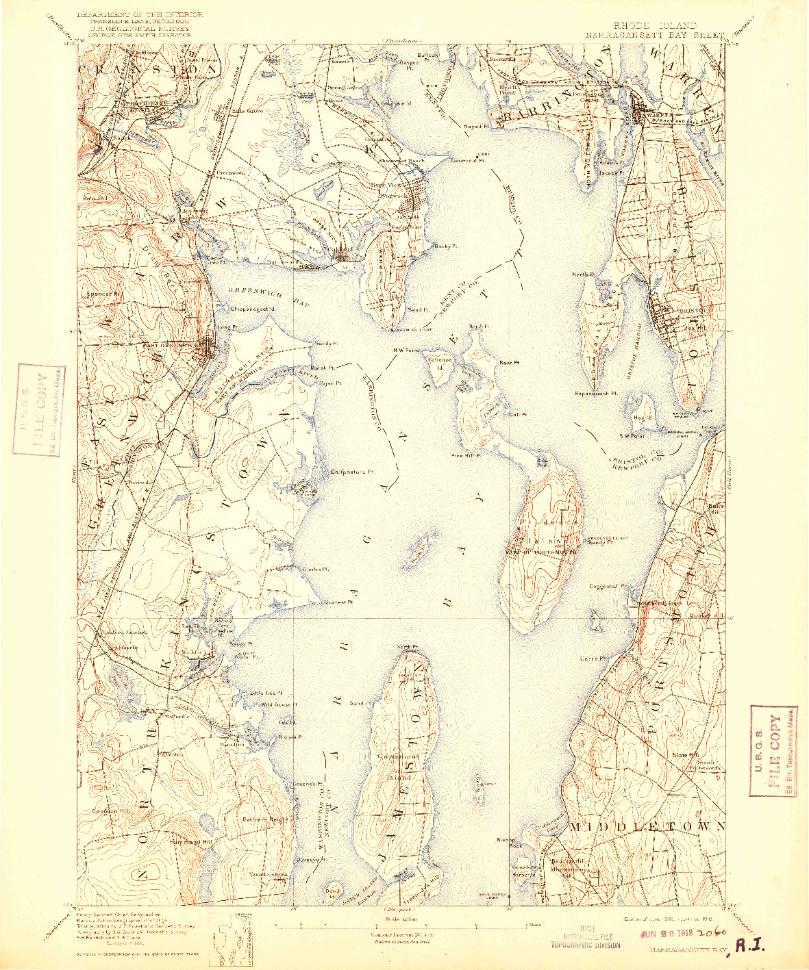 USGS 1:62500-SCALE QUADRANGLE FOR NARRAGANSETT BAY, RI 1892