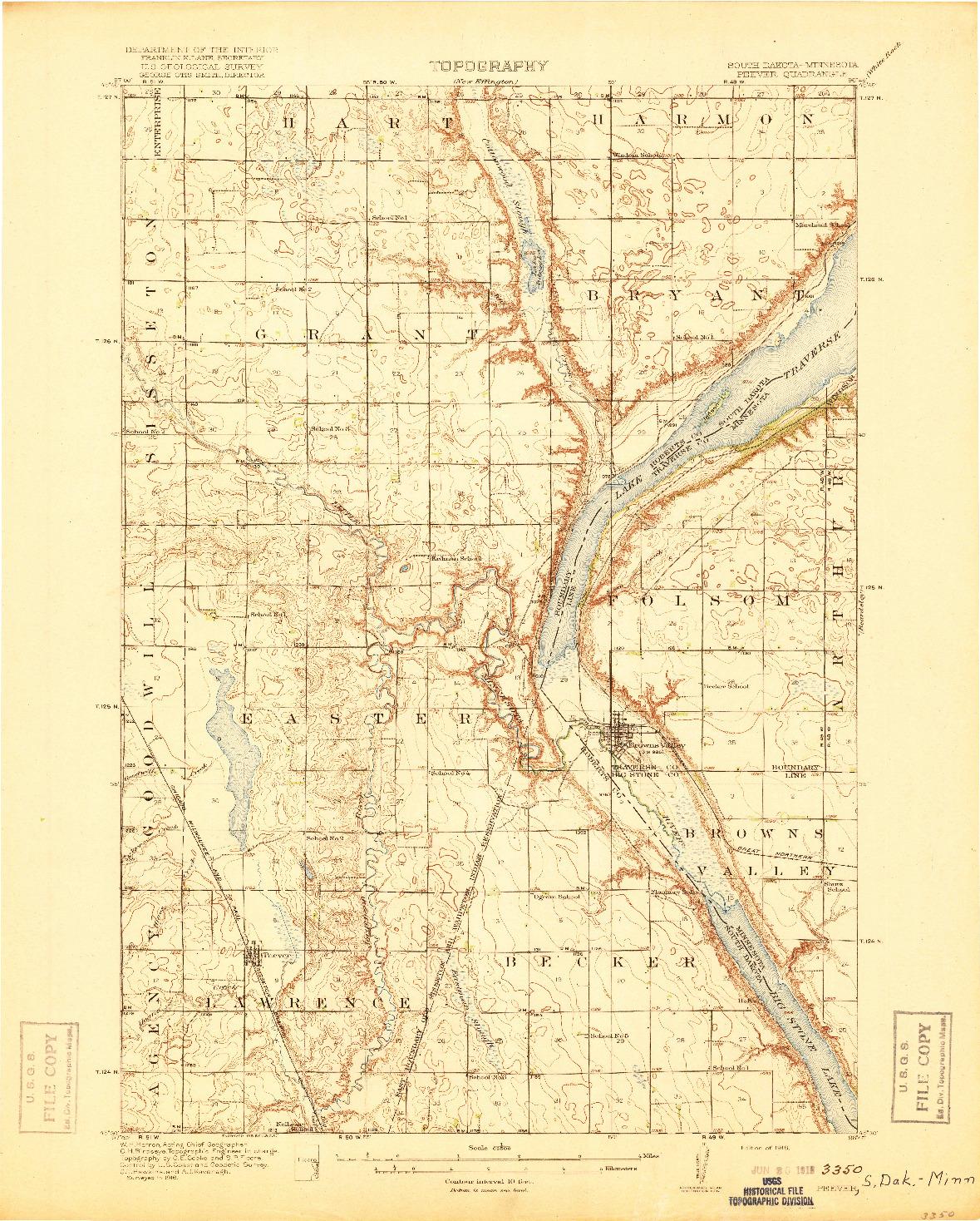 USGS 1:62500-SCALE QUADRANGLE FOR PEEVER, SD 1918