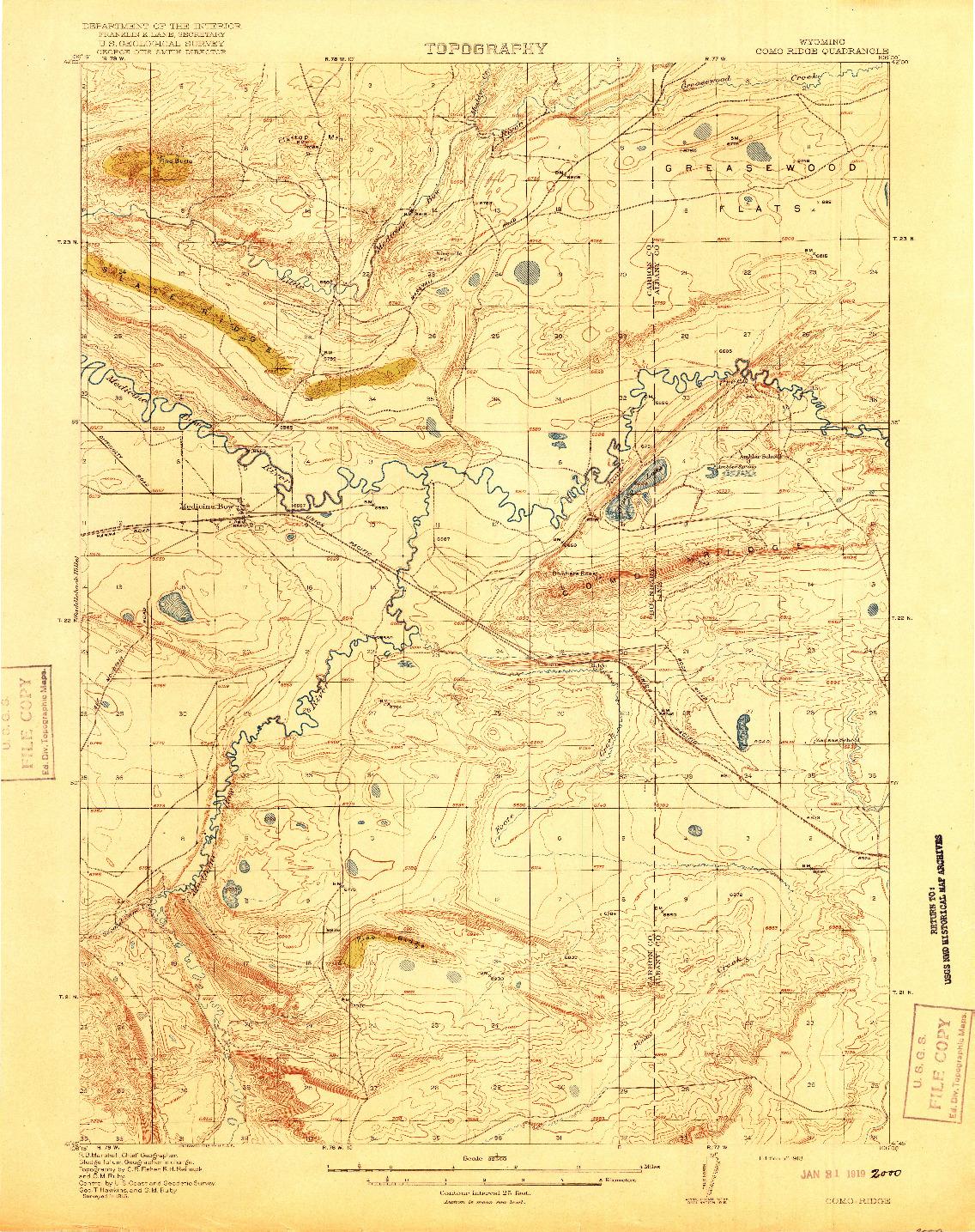 USGS 1:62500-SCALE QUADRANGLE FOR COMO RIDGE, WY 1918