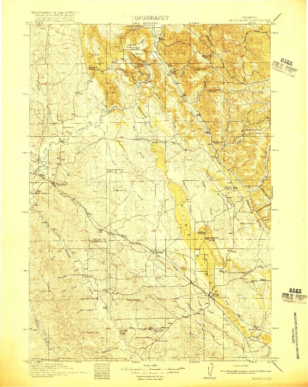 USGS 1:125000-SCALE QUADRANGLE FOR MOORCROFT, WY 1918