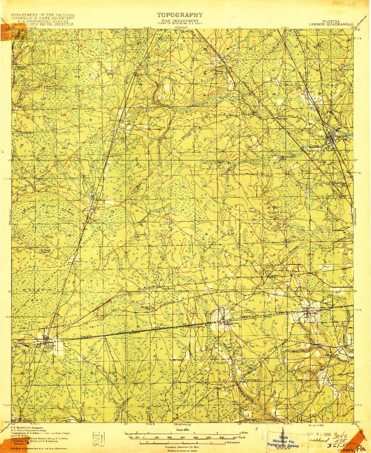 USGS 1:62500-SCALE QUADRANGLE FOR CAMBON, FL 1918