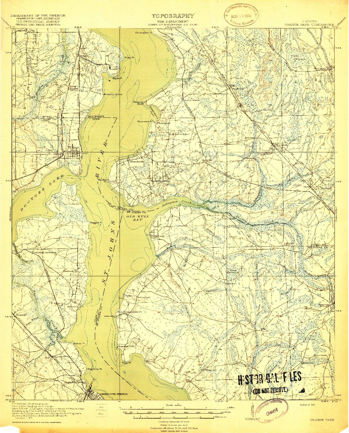 USGS 1:62500-SCALE QUADRANGLE FOR ORANGE PARK, FL 1918