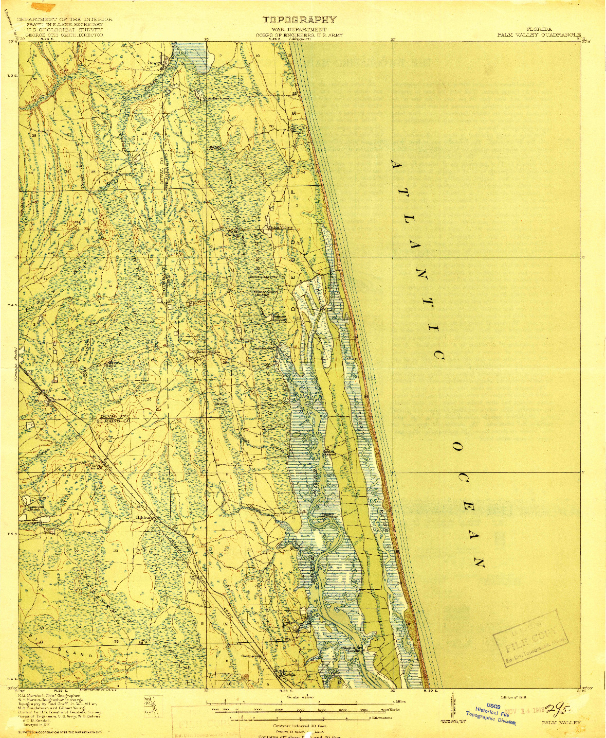 USGS 1:62500-SCALE QUADRANGLE FOR PALM VALLEY, FL 1918