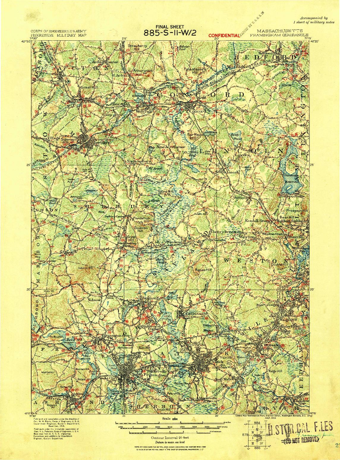 USGS 1:62500-SCALE QUADRANGLE FOR FRAMINGHAM, MA 1918