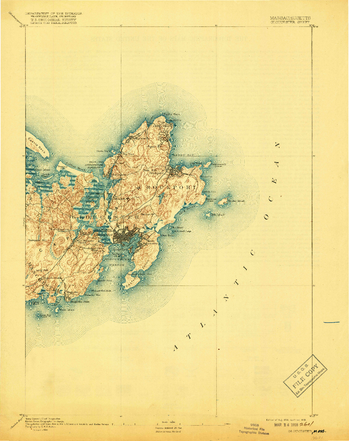 USGS 1:62500-SCALE QUADRANGLE FOR GLOUCESTER, MA 1893