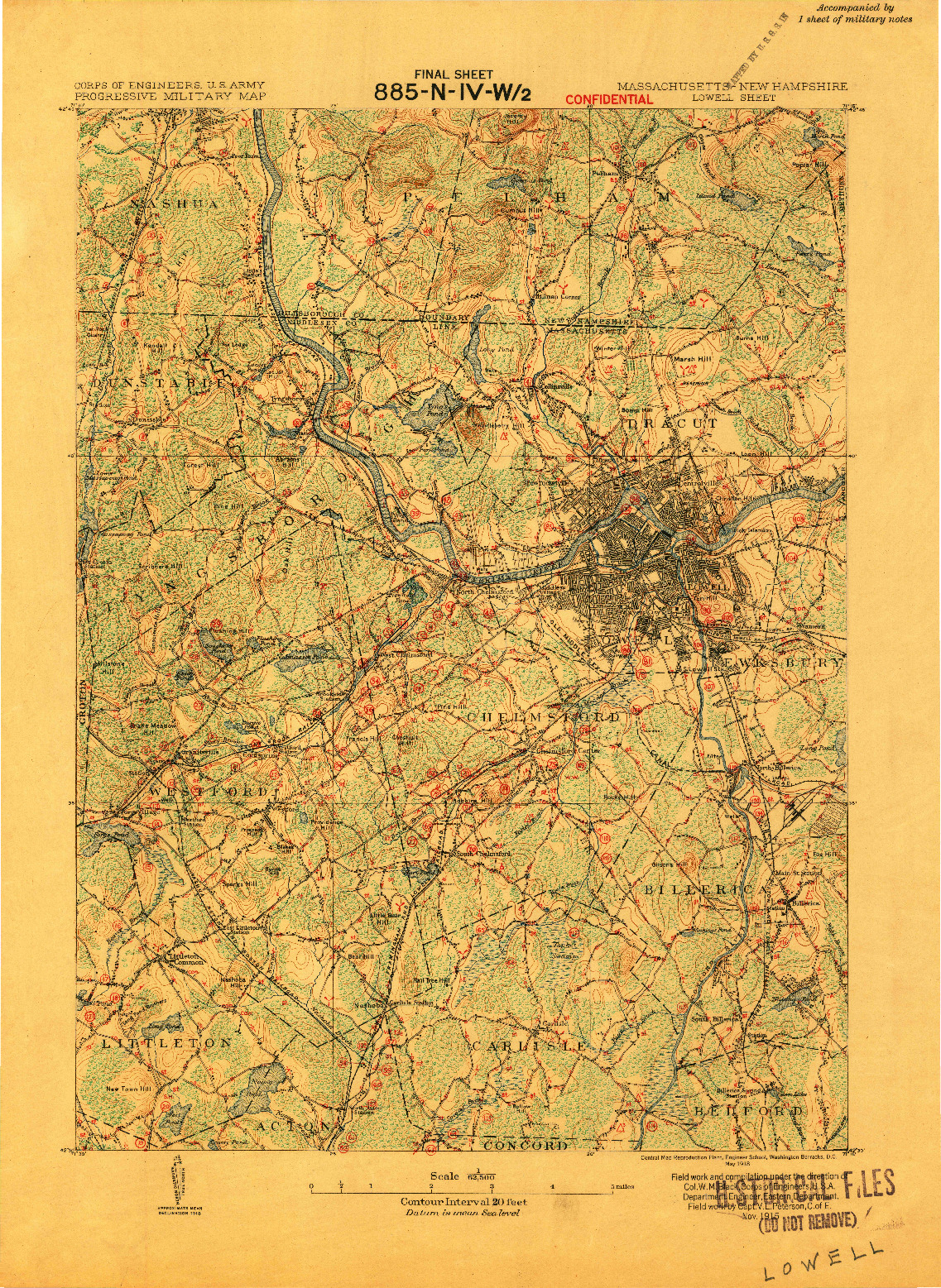 USGS 1:62500-SCALE QUADRANGLE FOR LOWELL, MA 1918