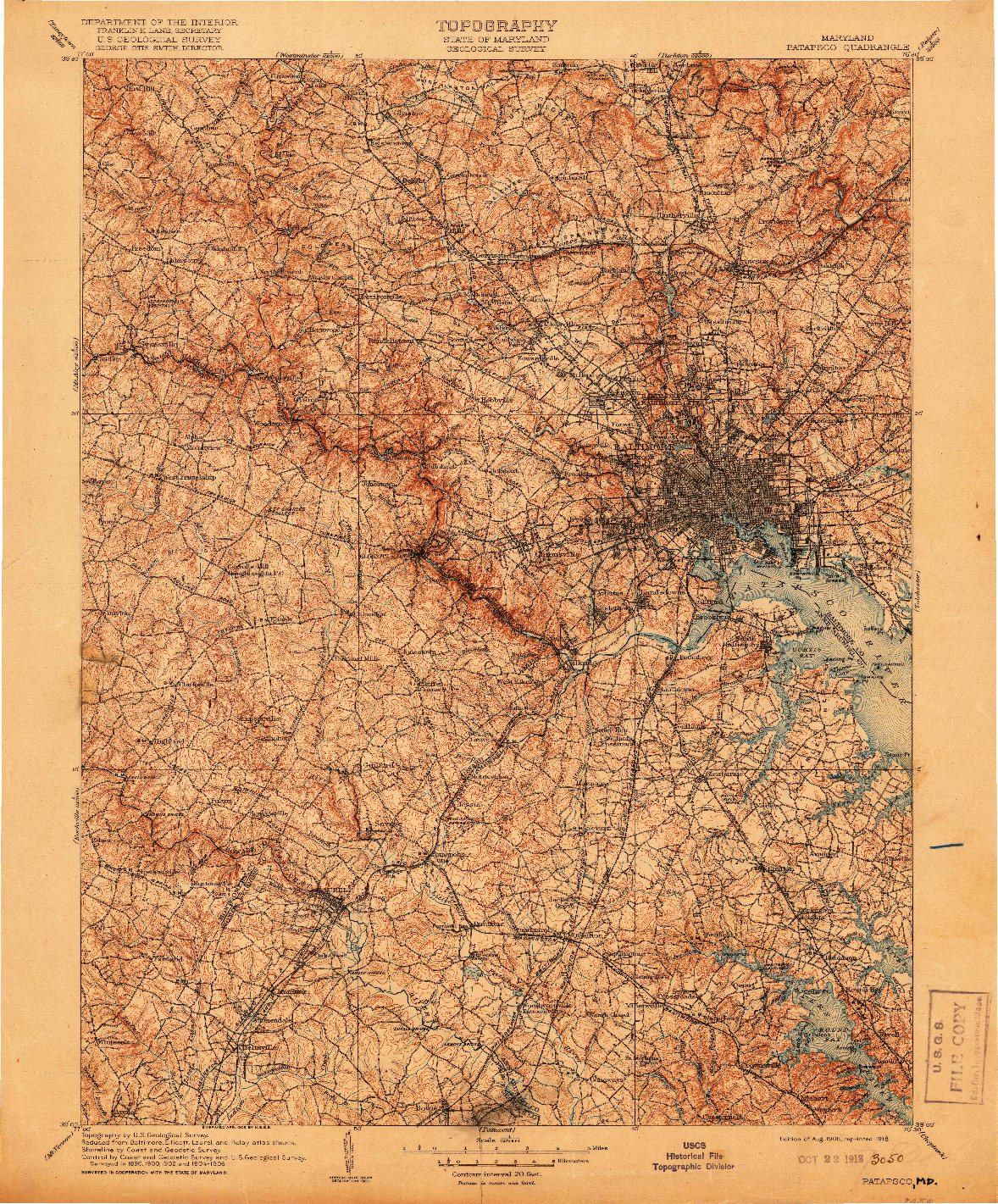 USGS 1:125000-SCALE QUADRANGLE FOR PATAPSCO, MD 1908