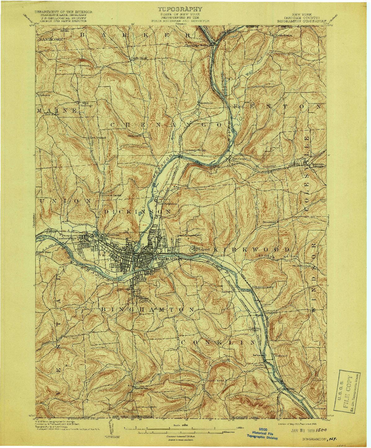 USGS 1:62500-SCALE QUADRANGLE FOR BINGHAMTON, NY 1904