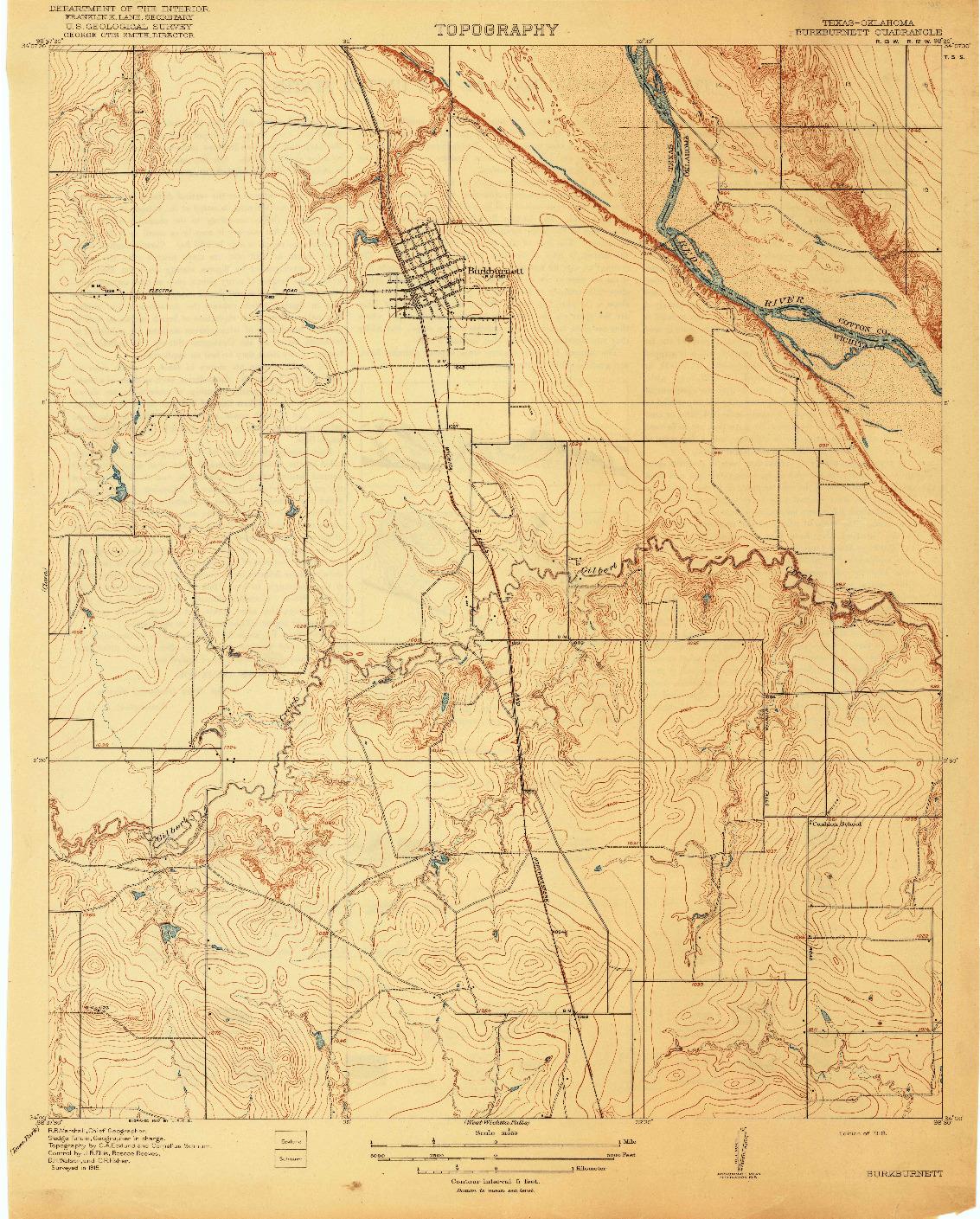 USGS 1:31680-SCALE QUADRANGLE FOR BURKBURNETT, TX 1918