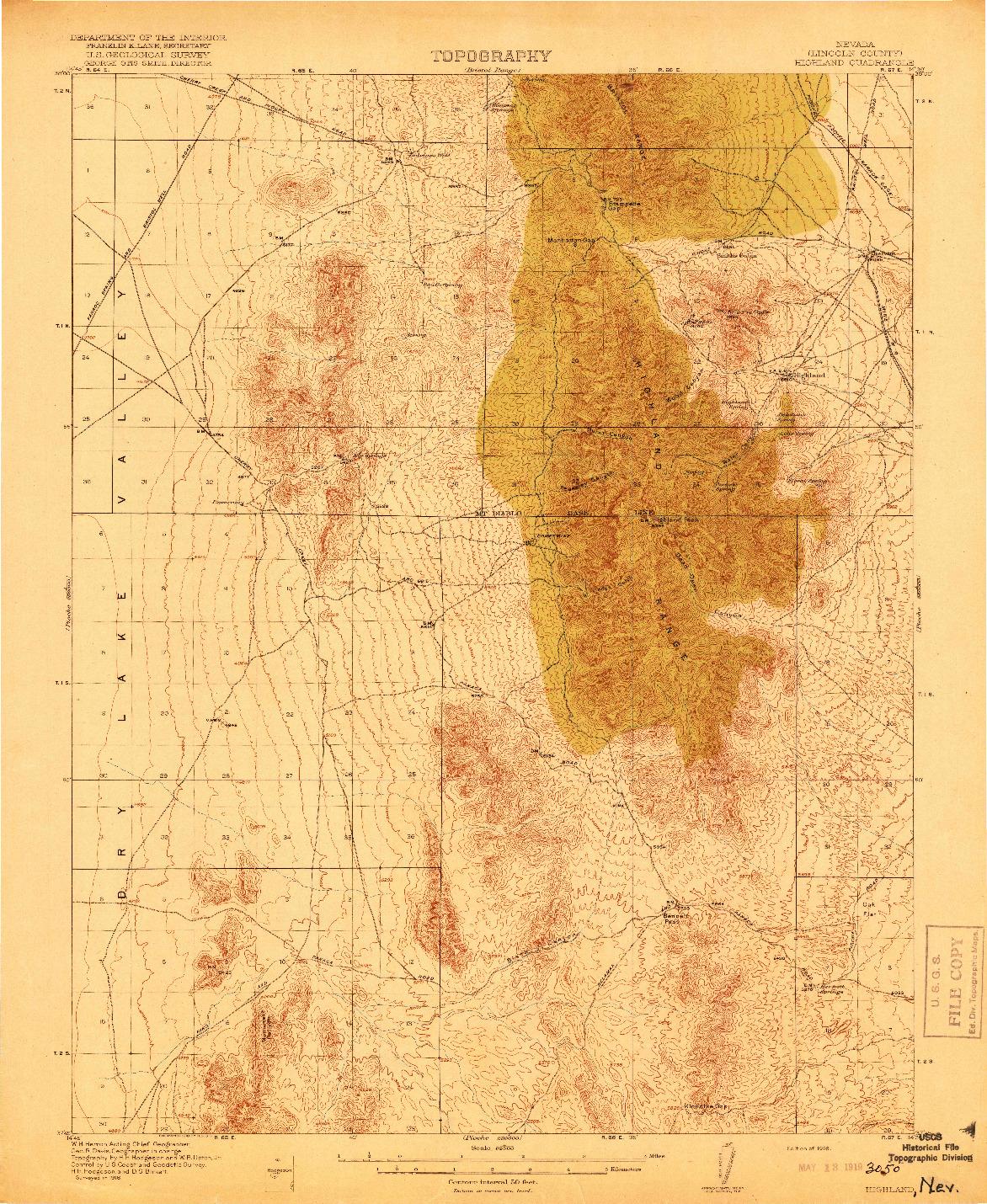 USGS 1:62500-SCALE QUADRANGLE FOR HIGHLAND, NV 1918