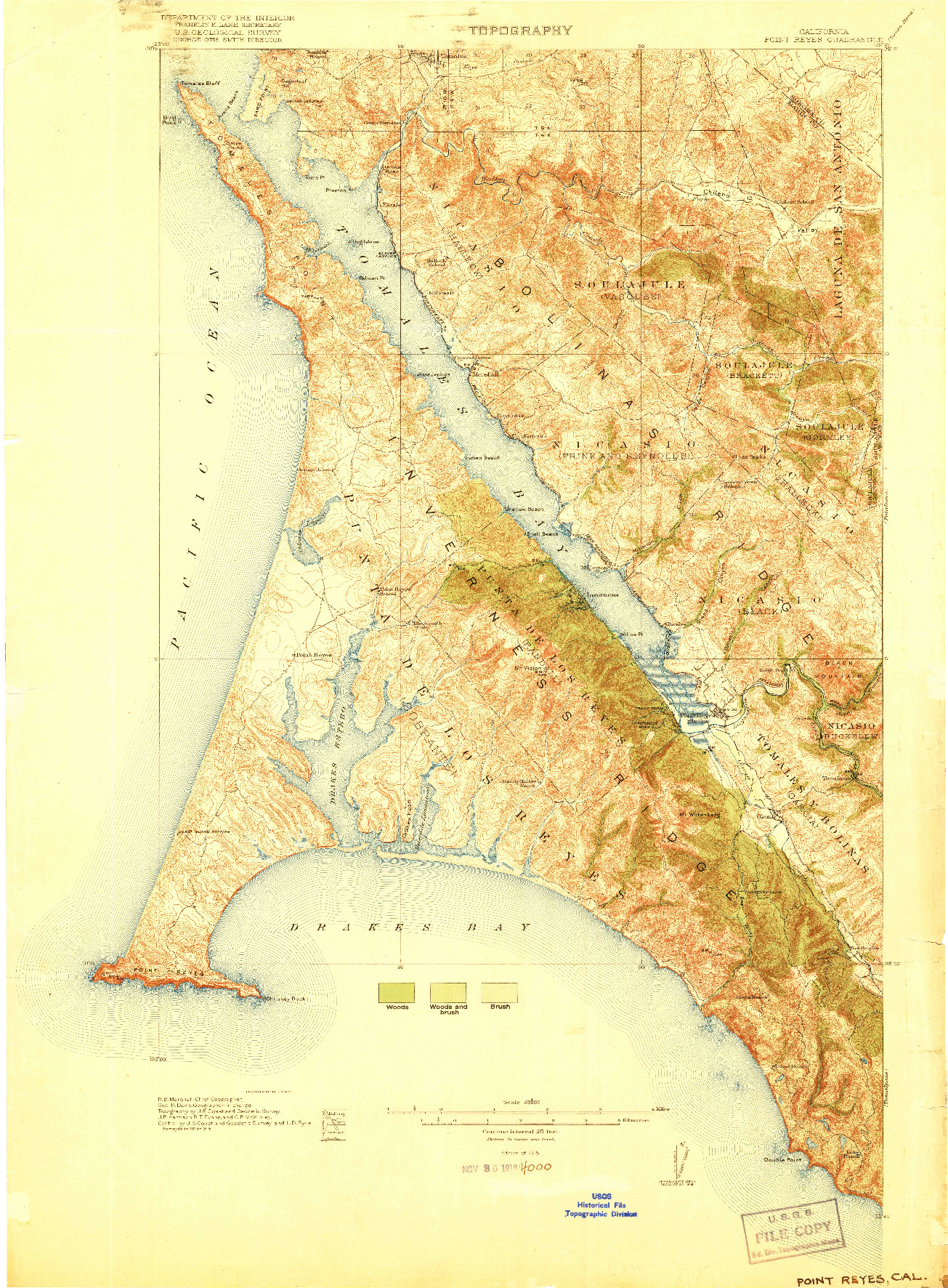 USGS 1:62500-SCALE QUADRANGLE FOR POINT REYES, CA 1918