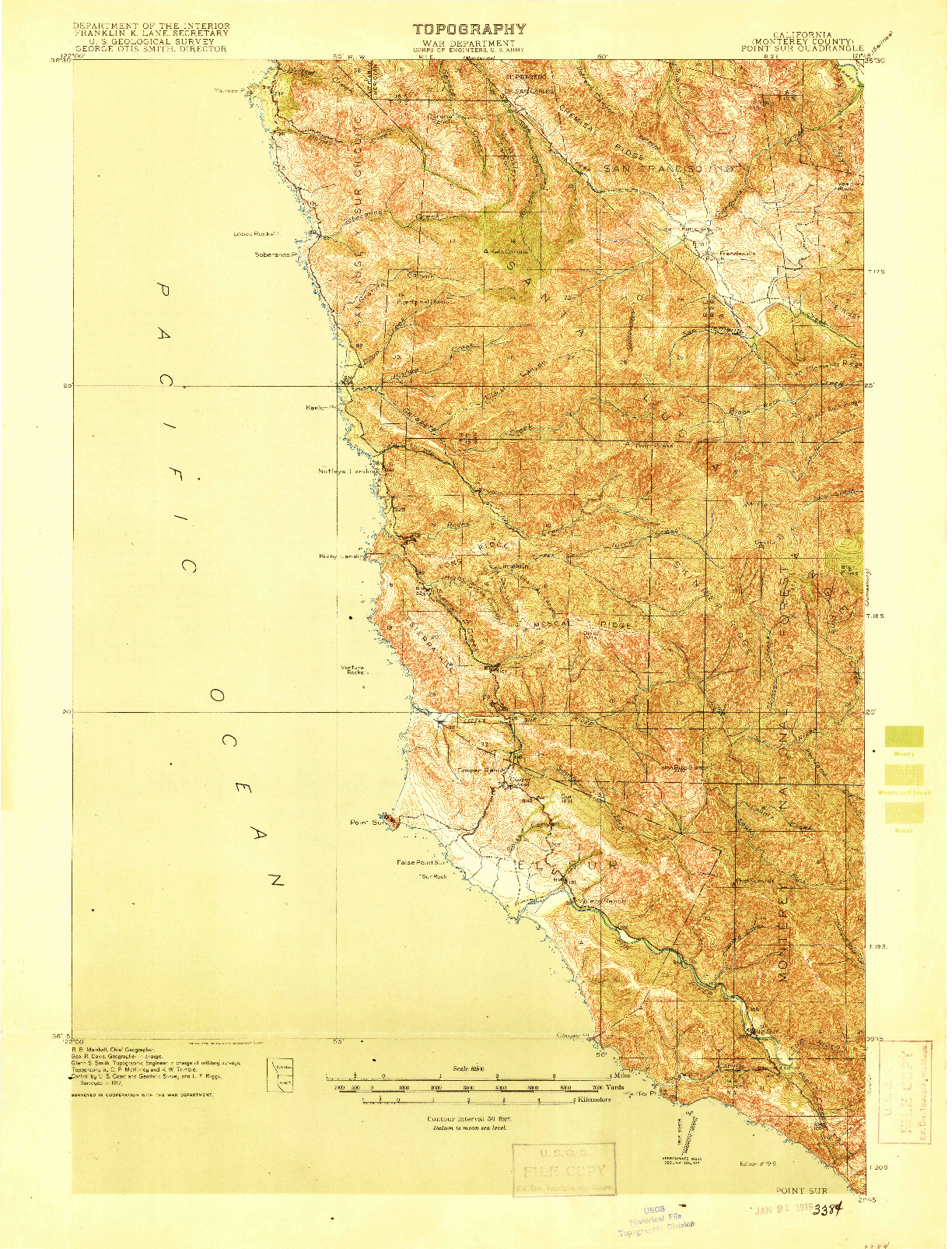 USGS 1:62500-SCALE QUADRANGLE FOR POINT SUR, CA 1918