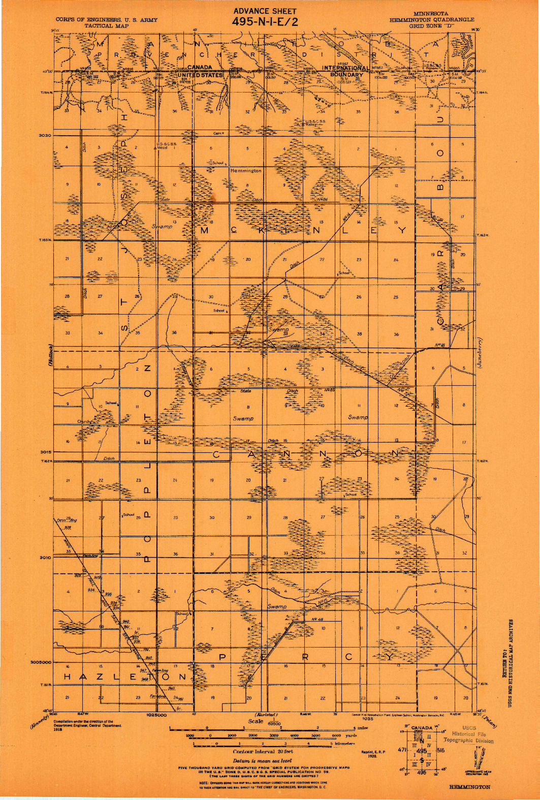 USGS 1:62500-SCALE QUADRANGLE FOR HEMMINGTON, MN 1918