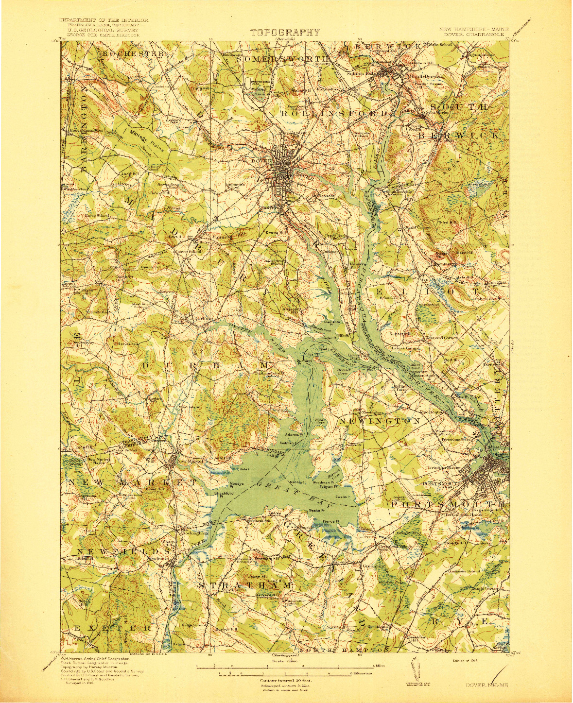 USGS 1:62500-SCALE QUADRANGLE FOR DOVER, NH 1918