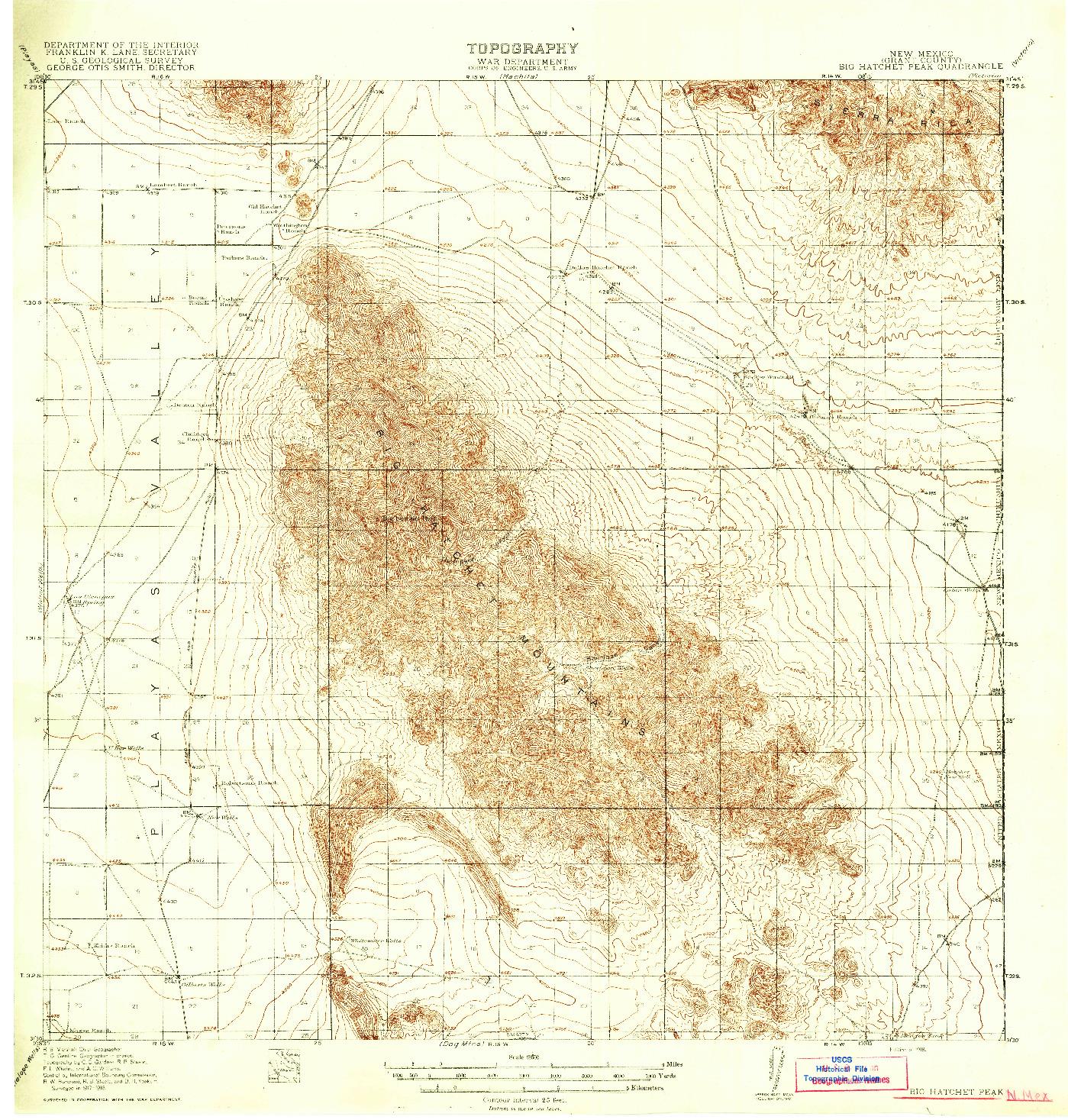 USGS 1:62500-SCALE QUADRANGLE FOR BIG HATCHET PEAK, NM 1918