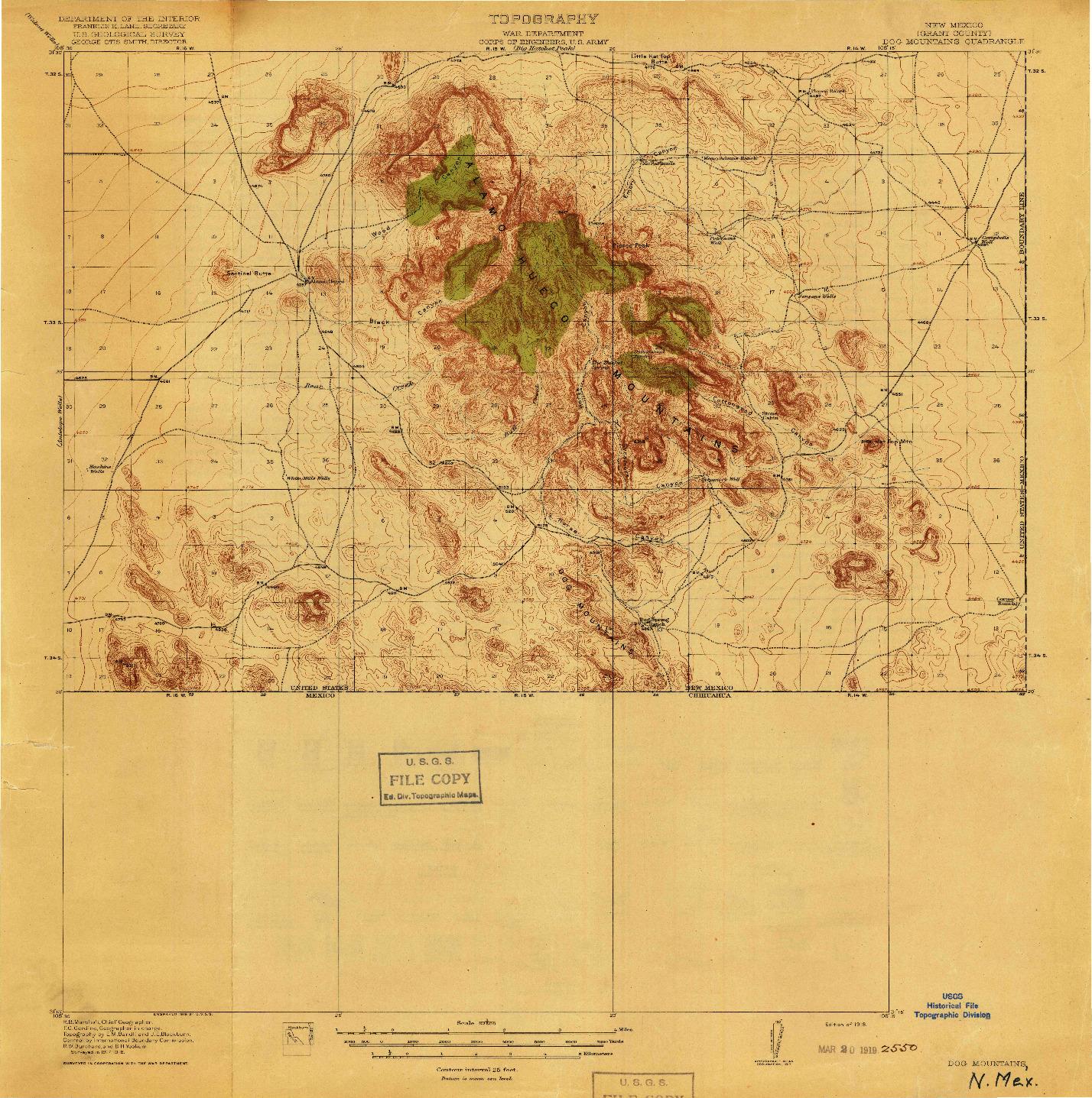 USGS 1:62500-SCALE QUADRANGLE FOR DOG MOUNTAINS, NM 1918