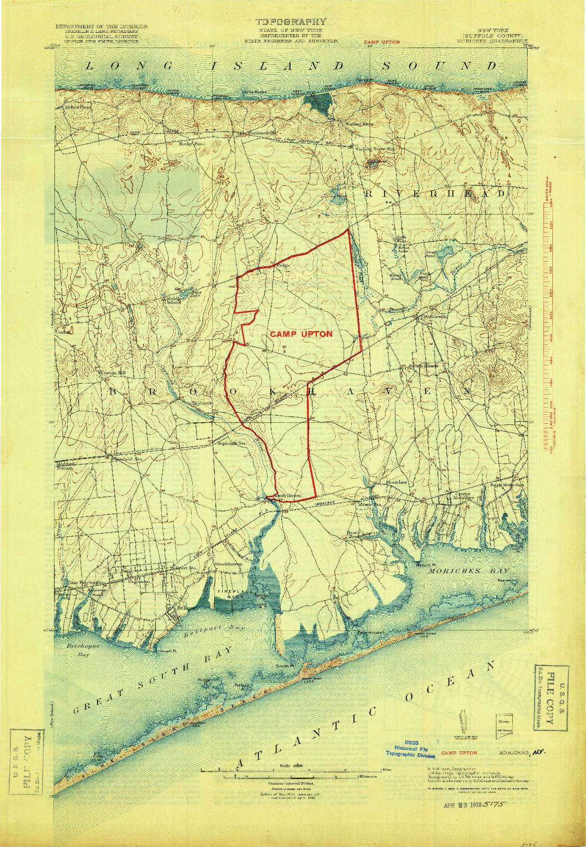 USGS 1:62500-SCALE QUADRANGLE FOR MORICHES, NY 1904