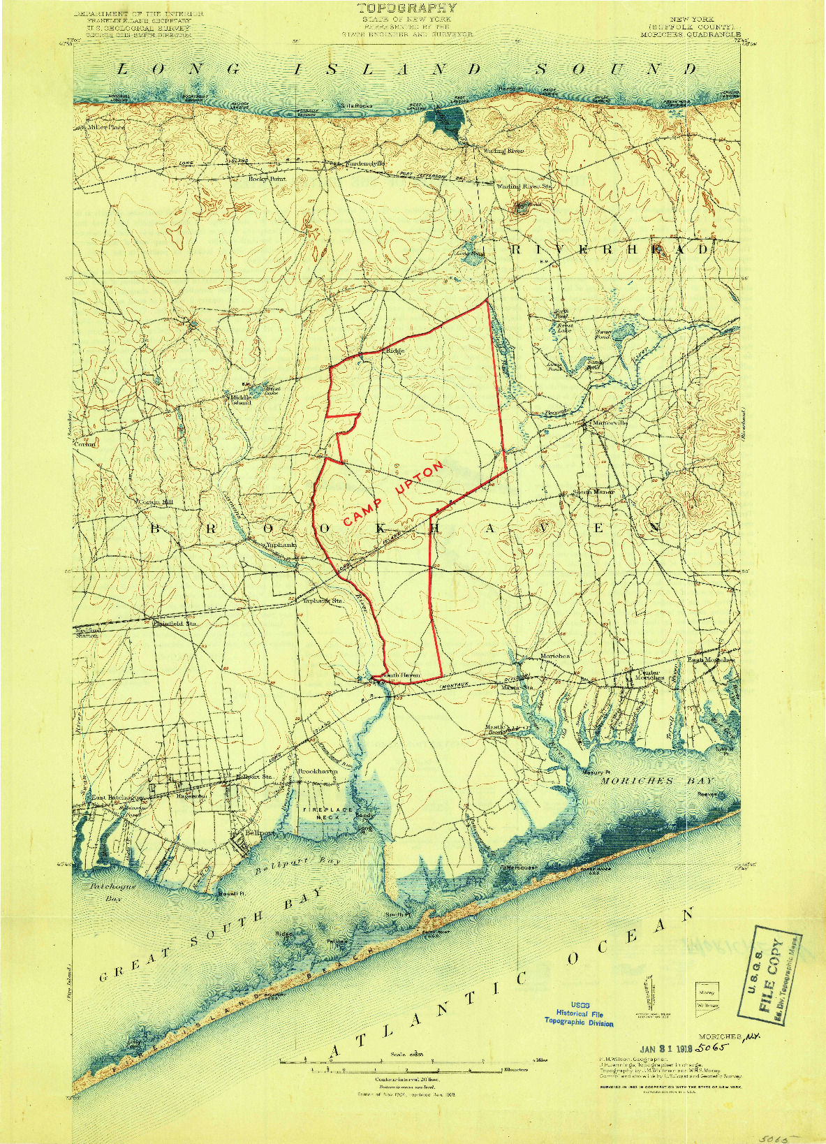 USGS 1:62500-SCALE QUADRANGLE FOR MORICHES, NY 1904