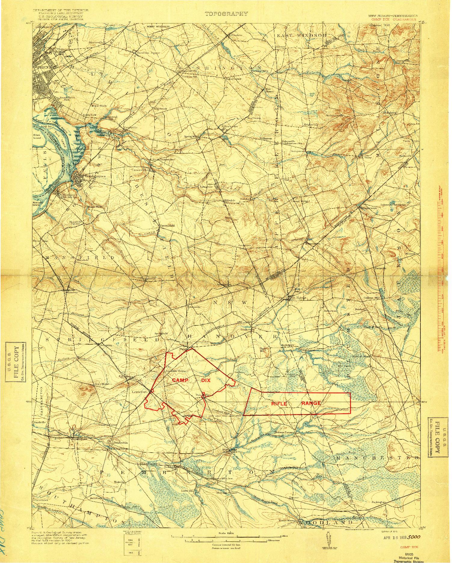 USGS 1:62500-SCALE QUADRANGLE FOR CAMP DIX, NJ 1918