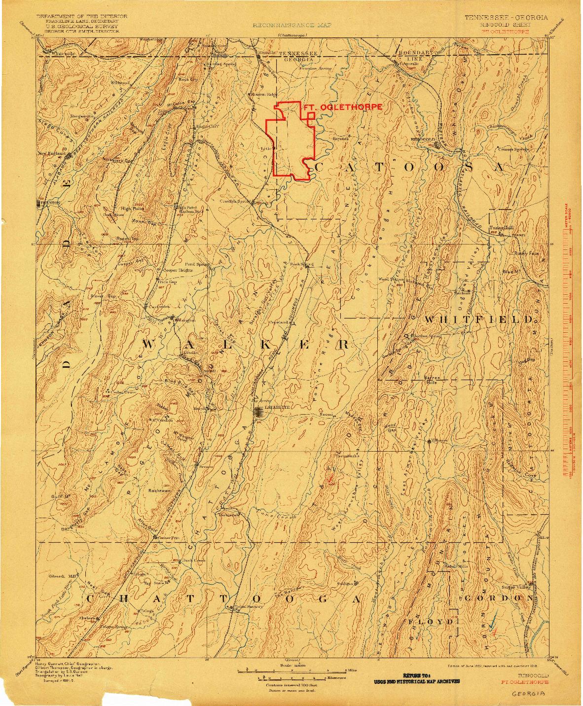USGS 1:125000-SCALE QUADRANGLE FOR RINGGOLD, TN 1892