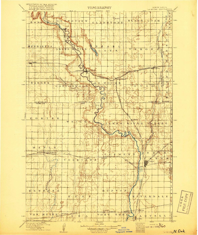 USGS 1:125000-SCALE QUADRANGLE FOR LA MOURE, ND 1918