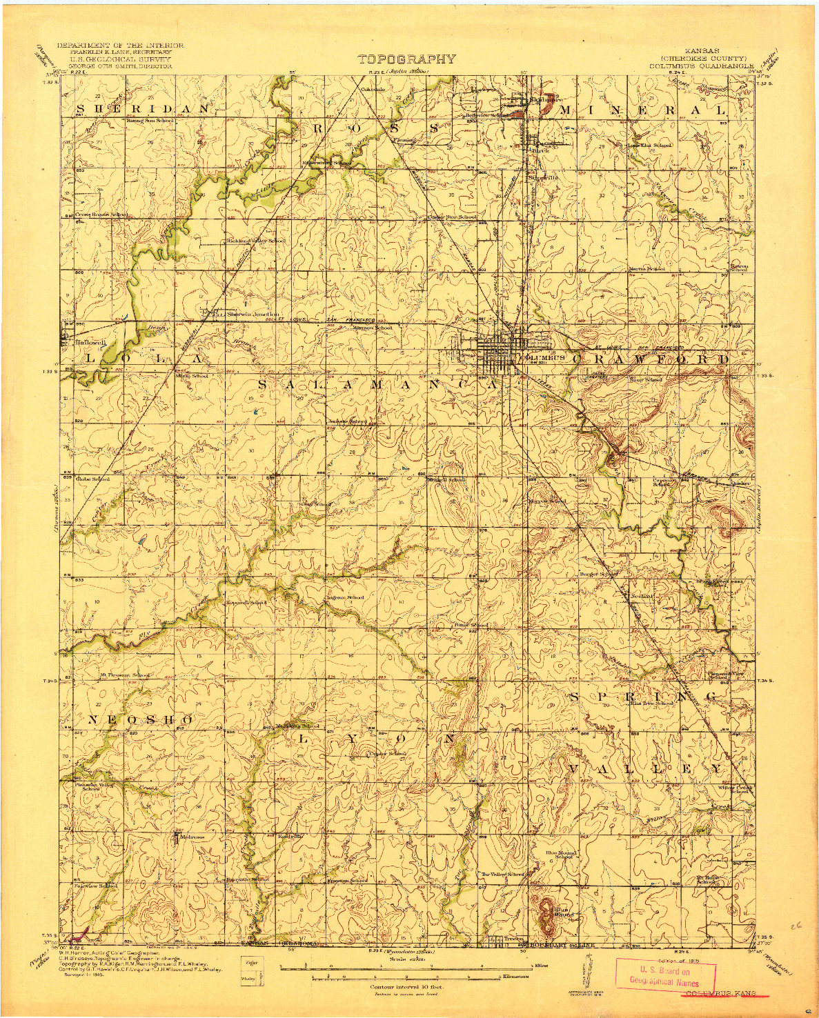 USGS 1:62500-SCALE QUADRANGLE FOR COLUMBUS, KS 1918