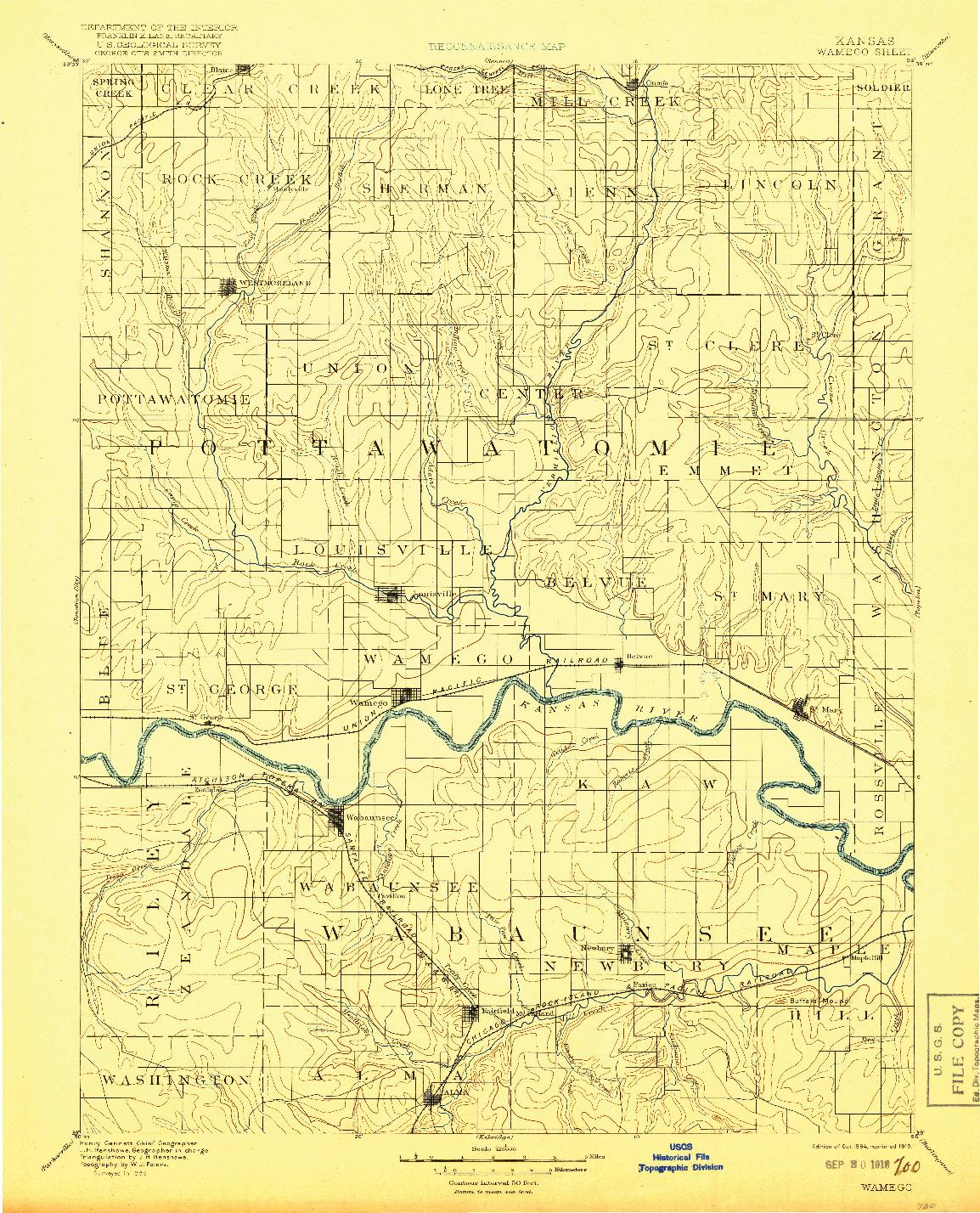 USGS 1:125000-SCALE QUADRANGLE FOR WAMEGO, KS 1894