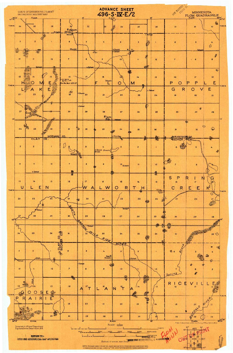 USGS 1:62500-SCALE QUADRANGLE FOR FLOM, MN 1918