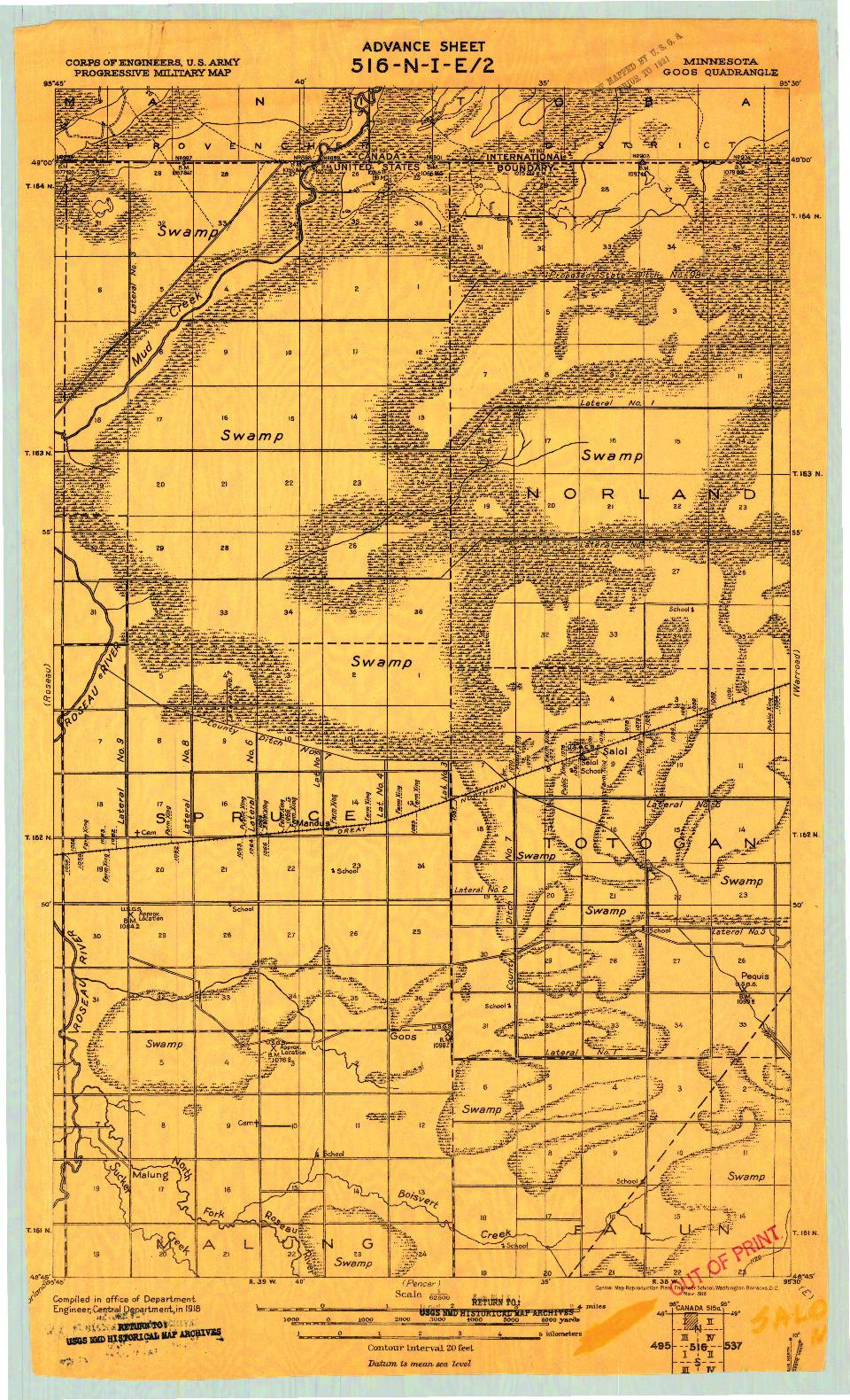 USGS 1:62500-SCALE QUADRANGLE FOR GOOS, MN 1918