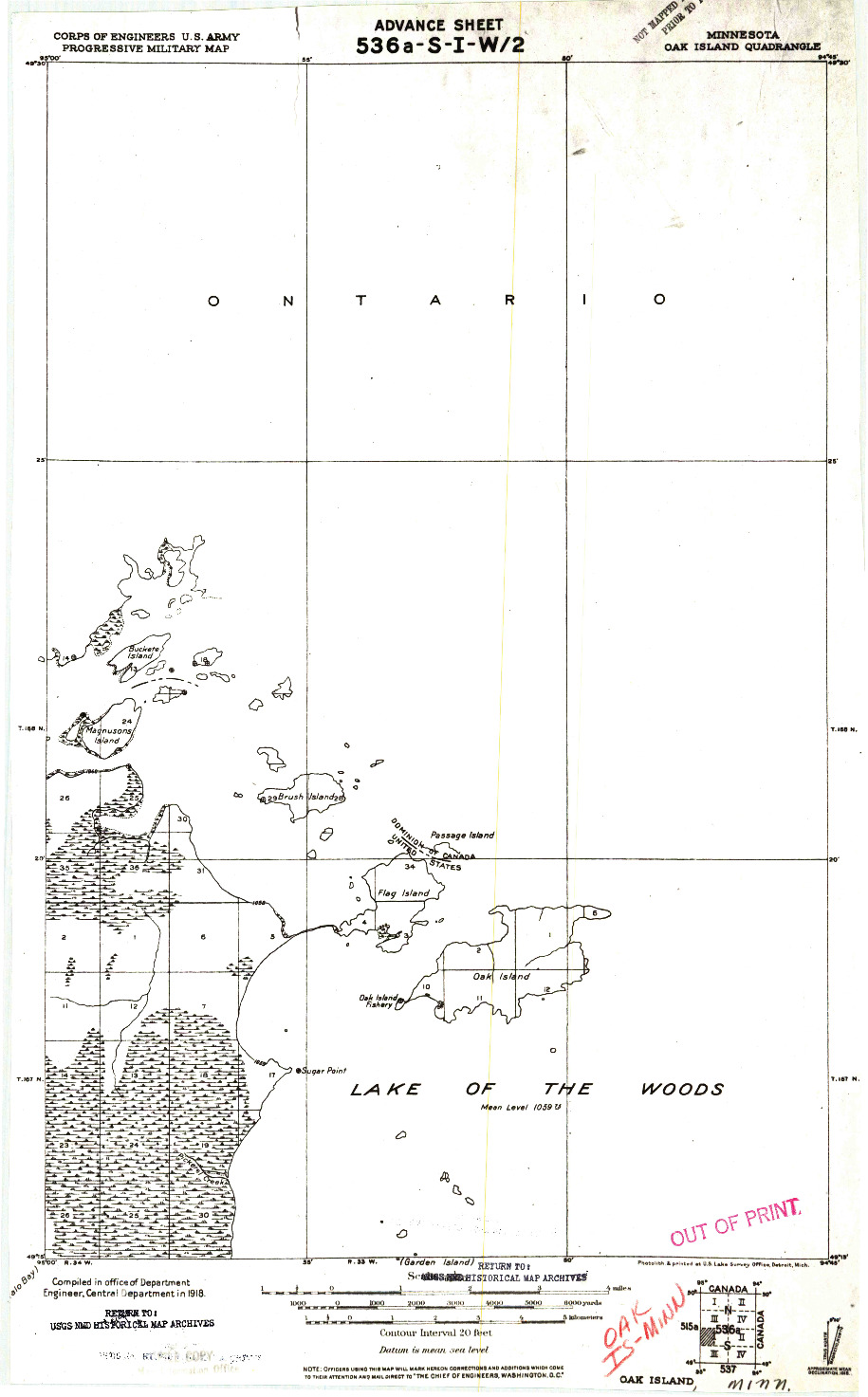 USGS 1:62500-SCALE QUADRANGLE FOR OAK ISLAND, MN 1918