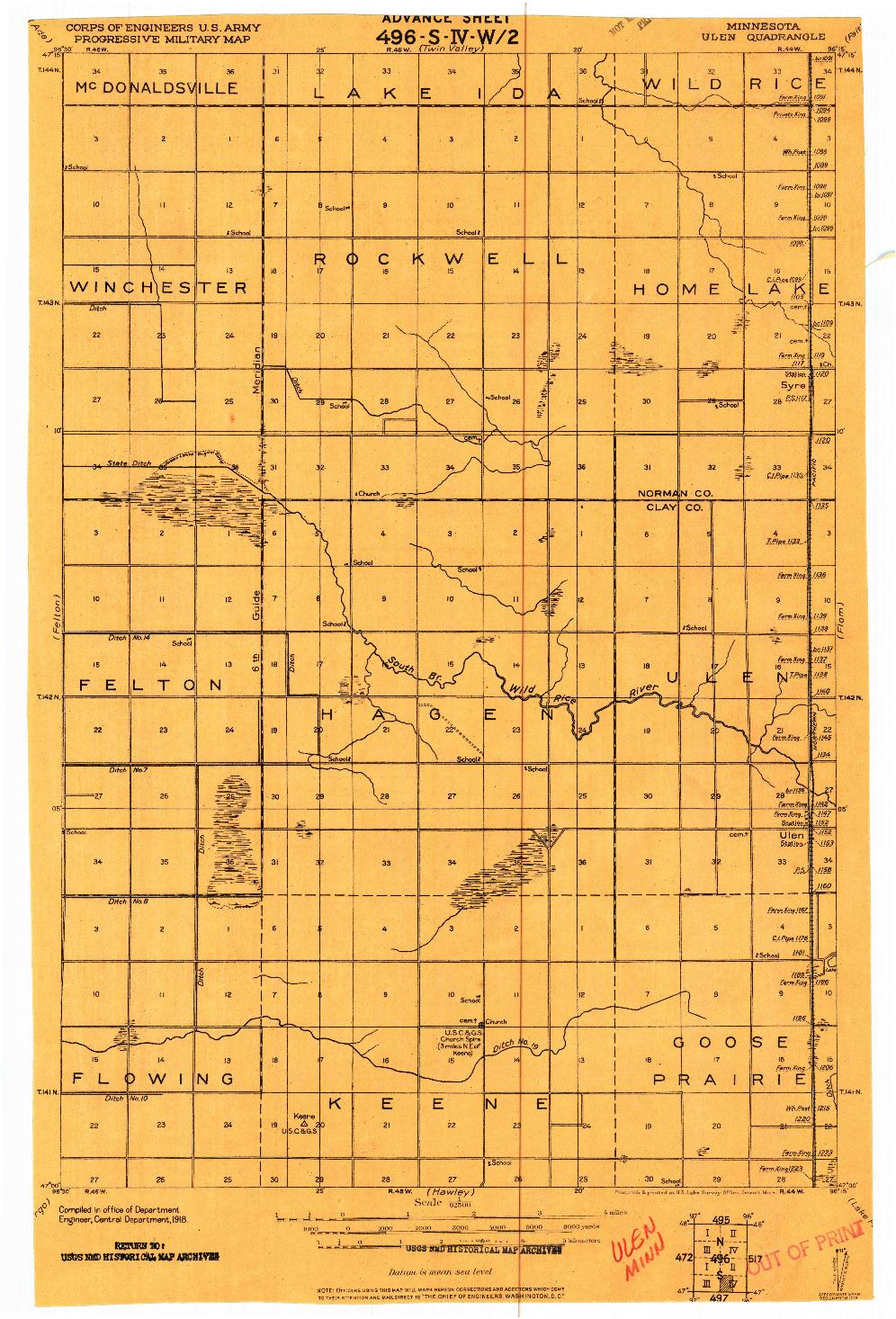 USGS 1:62500-SCALE QUADRANGLE FOR ULEN, MN 1918