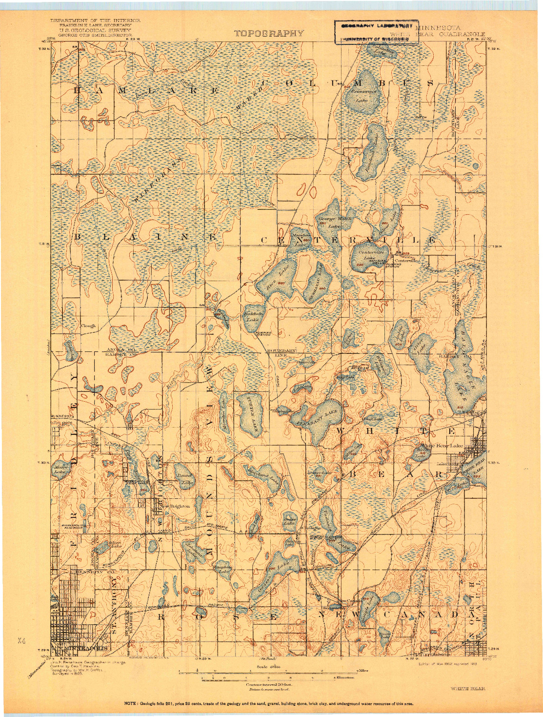 USGS 1:62500-SCALE QUADRANGLE FOR WHITE BEAR, MN 1902