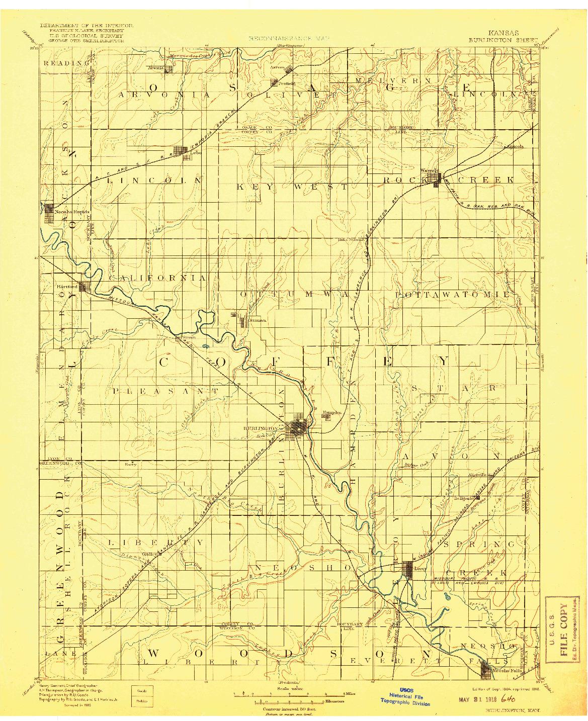 USGS 1:125000-SCALE QUADRANGLE FOR BURLINGTON, KS 1894