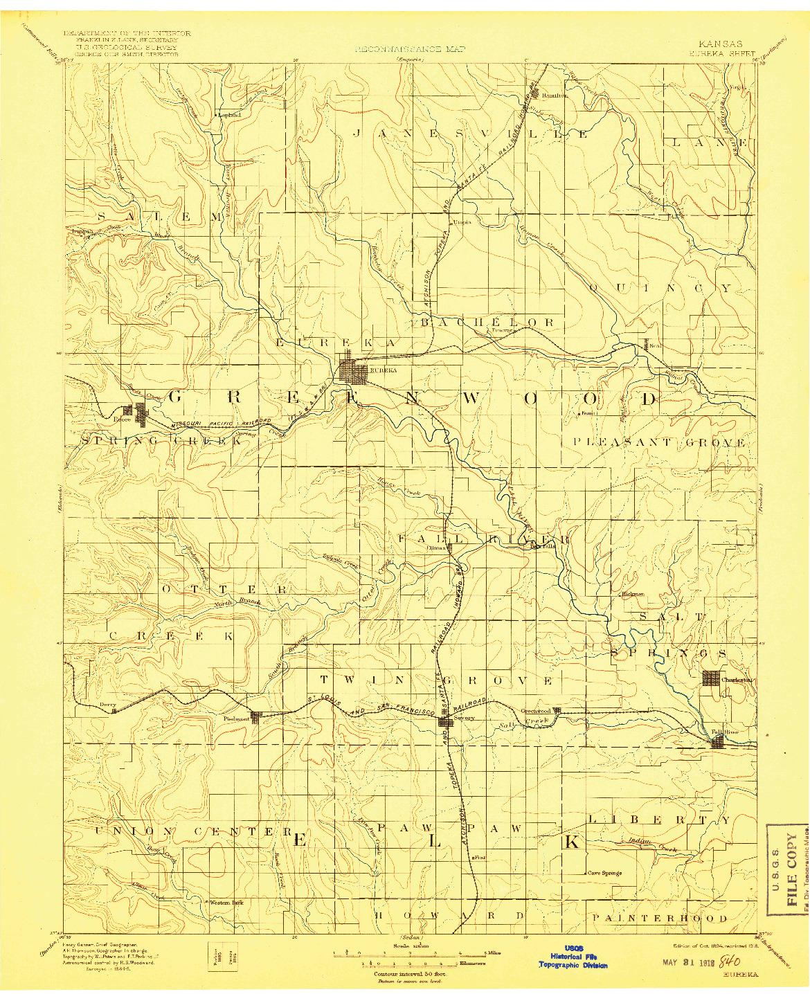 USGS 1:125000-SCALE QUADRANGLE FOR EUREKA, KS 1894
