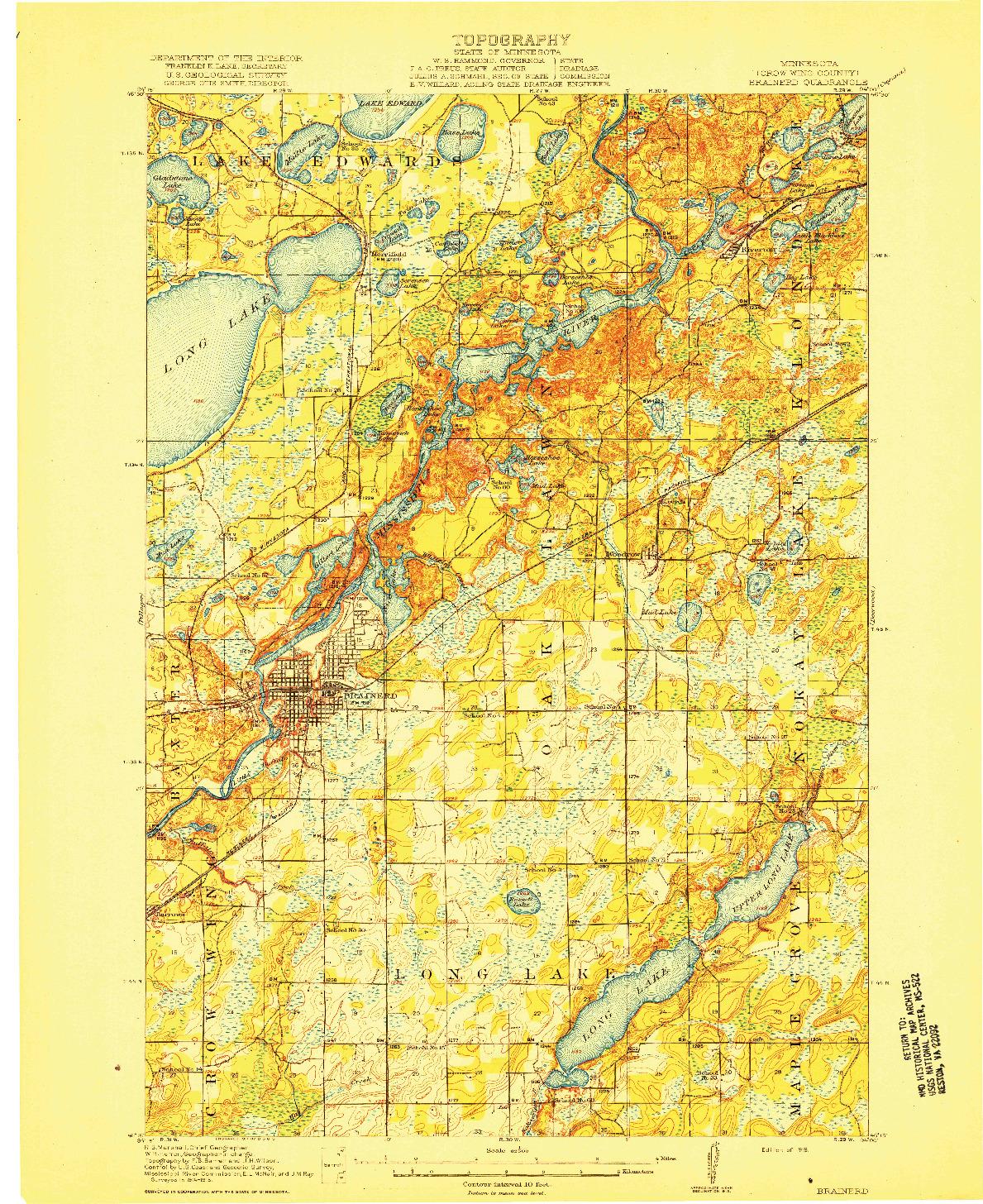 USGS 1:62500-SCALE QUADRANGLE FOR BRAINERD, MN 1918