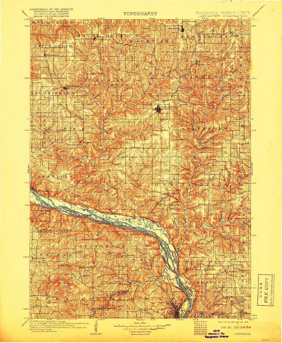USGS 1:125000-SCALE QUADRANGLE FOR LANCASTER, WI 1908