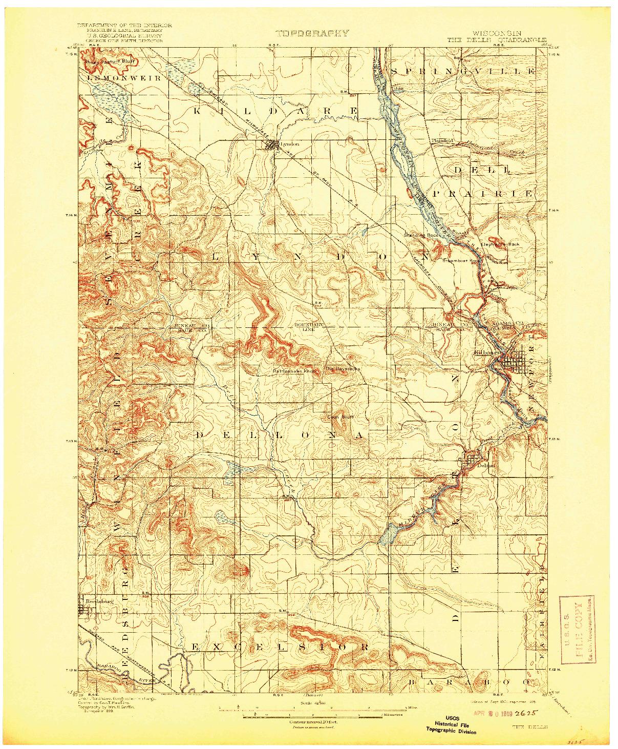 USGS 1:62500-SCALE QUADRANGLE FOR THE DELLS, WI 1901