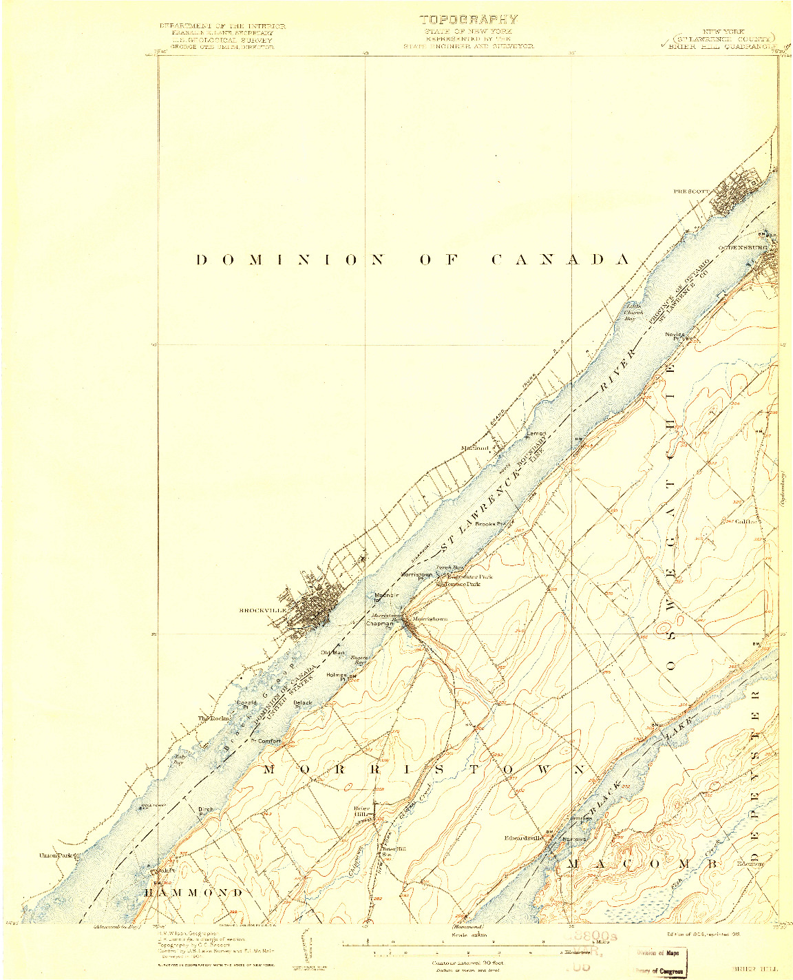 USGS 1:62500-SCALE QUADRANGLE FOR BRIER HILL, NY 1906