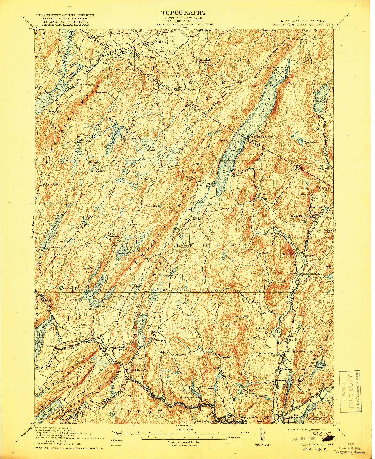 USGS 1:62500-SCALE QUADRANGLE FOR GREENWOOD LAKE, NJ 1910