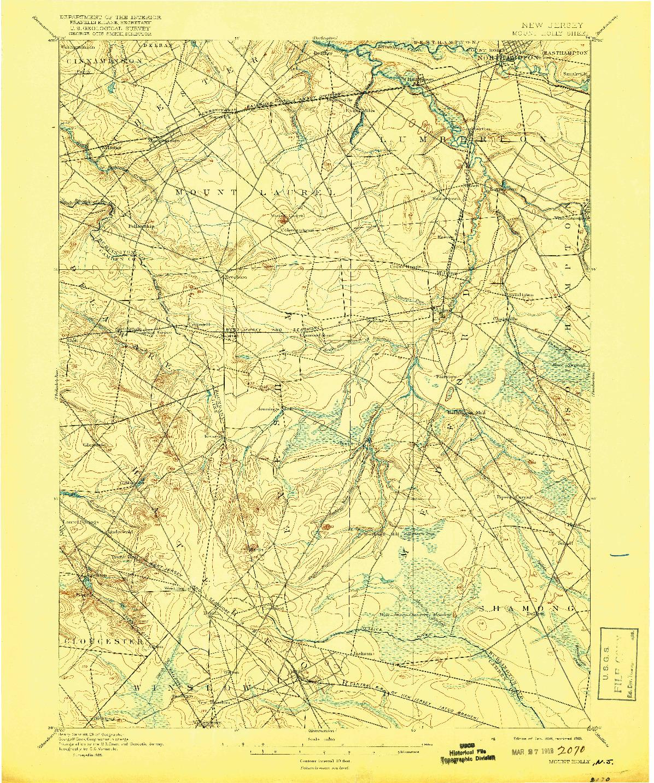 USGS 1:62500-SCALE QUADRANGLE FOR MOUNT HOLLY, NJ 1898